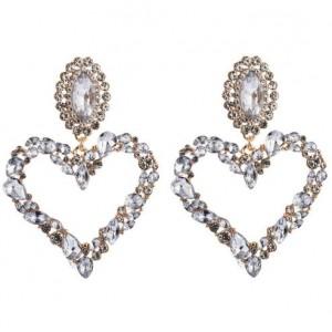 Stunningly Beautiful Big Rhinestone Heart Hoop Style Women Fashion Costume Earrings - White