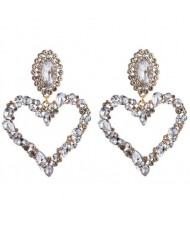 Stunningly Beautiful Big Rhinestone Heart Hoop Style Women Fashion Costume Earrings - White