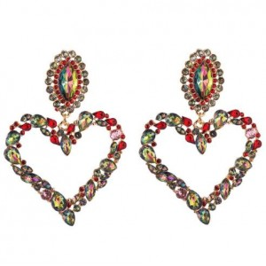 Stunningly Beautiful Big Rhinestone Heart Hoop Style Women Fashion Costume Earrings - Red
