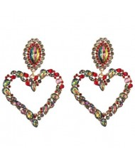 Stunningly Beautiful Big Rhinestone Heart Hoop Style Women Fashion Costume Earrings - Red