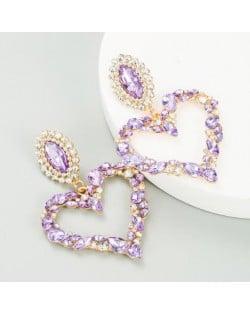 Stunningly Beautiful Big Rhinestone Heart Hoop Style Women Fashion Costume Earrings - Violet