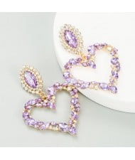 Stunningly Beautiful Big Rhinestone Heart Hoop Style Women Fashion Costume Earrings - Violet