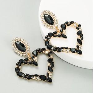 Stunningly Beautiful Big Rhinestone Heart Hoop Style Women Fashion Costume Earrings - Black