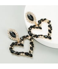 Stunningly Beautiful Big Rhinestone Heart Hoop Style Women Fashion Costume Earrings - Black