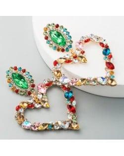 Stunningly Beautiful Big Rhinestone Heart Hoop Style Women Fashion Costume Earrings - Multicolor