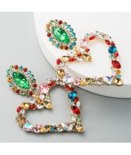 Stunningly Beautiful Big Rhinestone Heart Hoop Style Women Fashion Costume Earrings - Multicolor