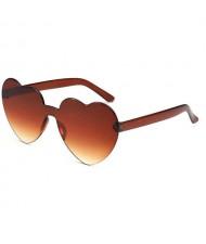 Peach Heart Shape Frameless Design High Fashion Women Sunglasses