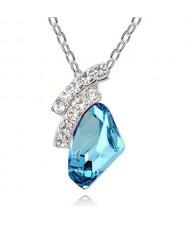 Magic Moment Style Aquamarine Austrian Crystal Irregular Pendant Necklace