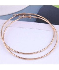 European Bold Fashion 71 mm Large Hoop Women Wholesale Alloy Costume Earrings - Golden