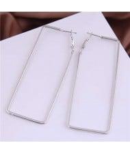 Oblong Shape Hollow Fashion Alloy Wholesale Women Hoop Earrings - Silver