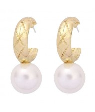 U.S. High Fashion Ball Pendant Unique Style Alloy Women Wholesale Earrings - White