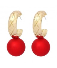 U.S. High Fashion Ball Pendant Unique Style Alloy Women Wholesale Earrings - Red