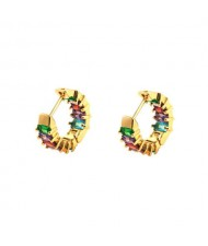 Colorful Cubic Zirconia 18K Gold Plated Celebrity Choice High Fashion Wholesale Earrings