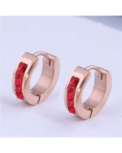 Rhinestone Embellished Delicate Design Korean Style Stainless Steel Ear Clips - Red