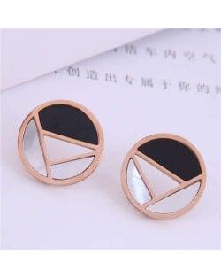 Geometric Combination Design Round Korean Fashion Women Stainless Steel Stud Earrings