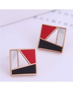 Korean Fashion Geometric Combination Design Square Shape Women Stainless Steel Stud Earrings