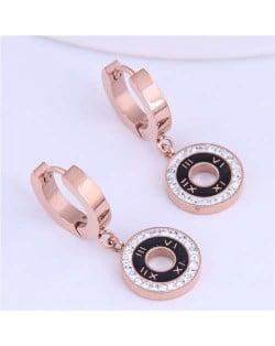 Roman Numerals High Fashion Round Pendants Design Stainless Steel Women Ear Clips - Black
