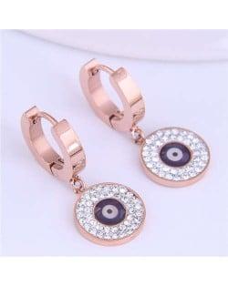 Magic Eye Inlaid Rhinestone Embellished Round Pendant Stainless Steel Women Ear Clips - Purple