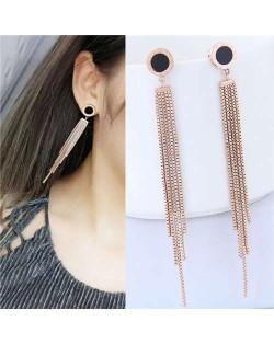 Long Tassel Design High Quality Stainless Steel Women Stud Earrings