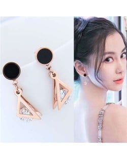 Cubic Zirconia Inlaid Triangle Fashion Women Stainless Steel Stud Earrings