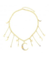 Moon and Stars High Fashion Design Pendants Golden Chain Women Alloy Wholesale Costume Necklace