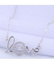 Cubic Zirconia Embellished Love Fashion Women Copper Wholesale Necklace - Silver
