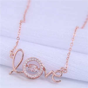 Cubic Zirconia Embellished Love Fashion Women Copper Wholesale Necklace - Rose Gold