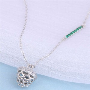 Delicate Pine Cone Pendant Korean Fashion Women Alloy Wholesale Necklace - Silver