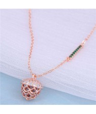 Delicate Pine Cone Pendant Korean Fashion Women Alloy Wholesale Necklace - Rose Gold