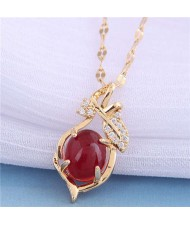 Jade Inalid Korean Fashion Golden Branches and Leaves Women Wholesale Costume Necklace - Red