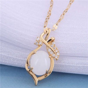 Jade Inalid Korean Fashion Golden Branches and Leaves Women Wholesale Costume Necklace - White