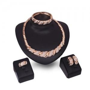 Romantic Petals Design High Fashion 4 pcs Women Wholesale Jewelry Set