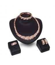 Romantic Petals Design High Fashion 4 pcs Women Wholesale Jewelry Set
