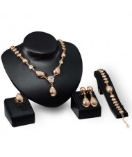 Rhinestone Embellished Bridal Fashion Golden Waterdrops Design 4 pcs Women Wholesale Jewelry Set