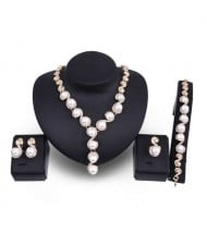 Artificial Pearl and Rhinestone Inlaid High Fashion Banquet Style 4 pcs Women Wholesale Jewelry Set
