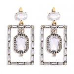 Bohemian Fashion Rectangular Rhinestone High Fashion Women Alloy Earrings - White