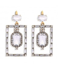 Bohemian Fashion Rectangular Rhinestone High Fashion Women Alloy Earrings - White