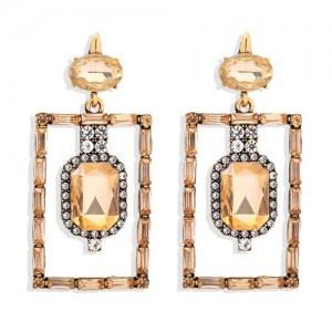 Bohemian Fashion Rectangular Rhinestone High Fashion Women Alloy Earrings - Champagne