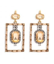Bohemian Fashion Rectangular Rhinestone High Fashion Women Alloy Earrings - Champagne
