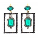 Bohemian Fashion Rectangular Rhinestone High Fashion Women Alloy Earrings - Green
