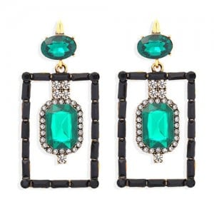 Bohemian Fashion Rectangular Rhinestone High Fashion Women Alloy Earrings - Green