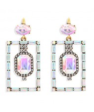 Bohemian Fashion Rectangular Rhinestone High Fashion Women Alloy Earrings - Colorful White