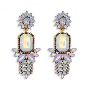 Rhinestone Flower Pattern Bling Fashion Women Alloy Wholesale Earrings - White