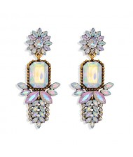 Rhinestone Flower Pattern Bling Fashion Women Alloy Wholesale Earrings - White
