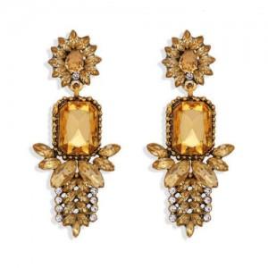 Rhinestone Flower Pattern Bling Fashion Women Alloy Wholesale Earrings - Champagne