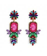 Rhinestone Flower Pattern Bling Fashion Women Alloy Wholesale Earrings - Multicolor