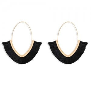 Cute Fashion Cotton Threads Korean Fashion Hoop Style Women Alloy Wholesale Earrings - Black