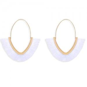 Cute Fashion Cotton Threads Korean Fashion Hoop Style Women Alloy Wholesale Earrings - White