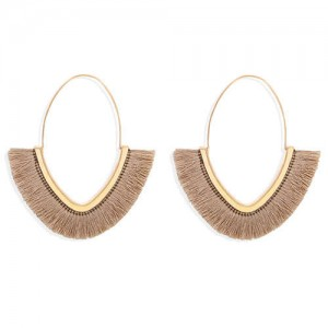 Cute Fashion Cotton Threads Korean Fashion Hoop Style Women Alloy Wholesale Earrings - Khaki