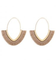 Cute Fashion Cotton Threads Korean Fashion Hoop Style Women Alloy Wholesale Earrings - Khaki